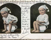Antique French postcard * Baby boy on the potty *