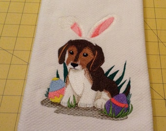 Easter Bunny Beagle! Embroidered Williams-Sonoma All Purpose Kitchen Towel, Made in Turkey, Extra Large