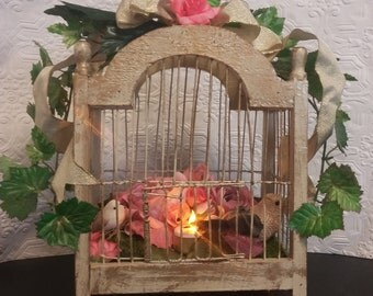 Victorian bird cage antique gold pink roses