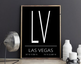 Las Vegas Print, Las Vegas Poster, Las Vegas Art, Las Vegas Coordinates, Las Vegas, Wall Art, Wall Decor, Printable Art, Digital Download