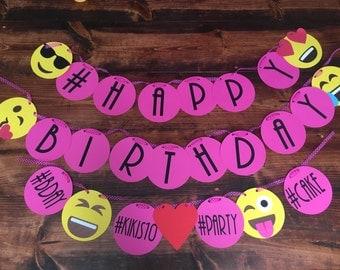 Emoji Inspired Birthday Banner-Custom Birthday Banner