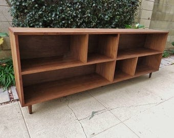 Mid Century Modern Shelf in walnut, low shelving, entertainment unit, bookshelf, modular, minimalist, bookcase, display cabinet, tv stand