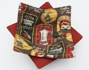 Microwave Bowl Cozies - Retro Coffee Design / Set of 2 / Stocking Stuffer / House Warming Gift / Microwave Potholder / Bowl Cozy / Potholder