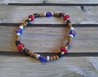 Wood and Glass Bead Stretch Bracelet,  #e-802