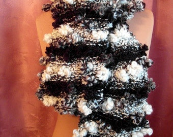 Scarf, knitted scarf, ladies scarf, black and white in the gradient, handmade, unique, handmade, scarf, OOAK