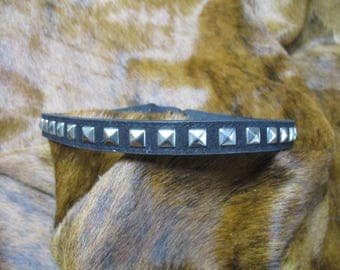 Cowboy Hat Band, SASS Hat Band, Vintage Hat Band, Re-enactor Hat Band, Cowgirl Hat Band, Vintage Black Faux Leather, with Pyramid Spots.