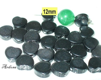 25 acrylic beads heart 12mm black (K647. 11)