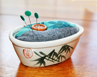Custom Made Pin Cushion fitted with Vintage Bonsai Bowl