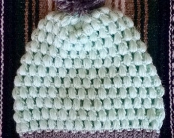 two tone puff stitch beanie