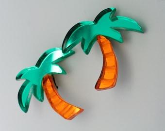 plexiglass palm tree earrings (ear clip)