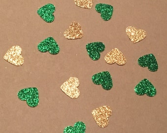 200 Green and Gold Heart Confetti St. Patrick's Day Confetti Christmas Confetti Birthday Confetti Green Confetti Gold Confetti