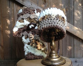 Multi-Color Natural Hat and Scarf Set