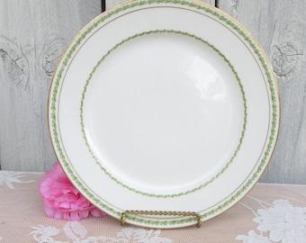 Antique Limoges Plates, Green Porcelain Plate, Gold embossed Plates, Theodore Haviland Limoges, Laurel Wreath Design, matching teacups