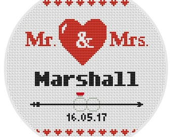 Custom wedding cross stitch pattern Modern Wedding cross stitch pattern Customizable PDF ** instant download** X188