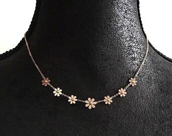 Daisy Necklace, Flower Pendant, Layering Necklace, Choker Necklace, Minimalist Bridesmaid Gift   Suradesires