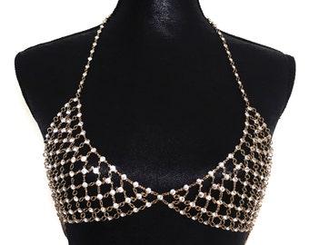 Crystal Bra, Crystal Bralette, Gold Crystal Bra Jewellery | Suradesires