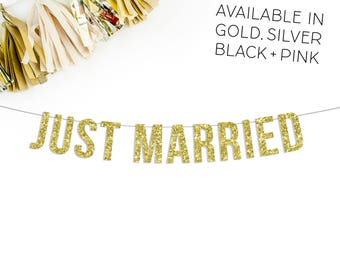 Just Married Banner | wedding banner photo prop car banner wedding get away gold black silver pink wedding reception head table banner sign