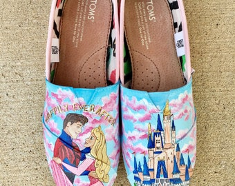 Sleeping beauty disney painted shoes