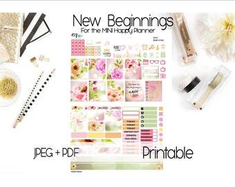 Mini-Happy Planner Weekly Printable Stickers- New Beginnings