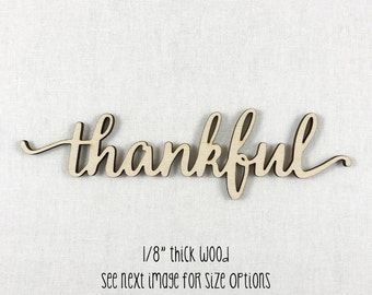 Wooden Word Sign, Thankful, Wood Word Home Decor, Lowercase Script Font, Home Wall Decor, Laser Cut Wood Words