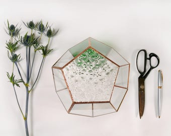 Vintage emerald green upcycled glass terrarium, custom colours, geometric wedding centrepiece, candle holder, unique gift