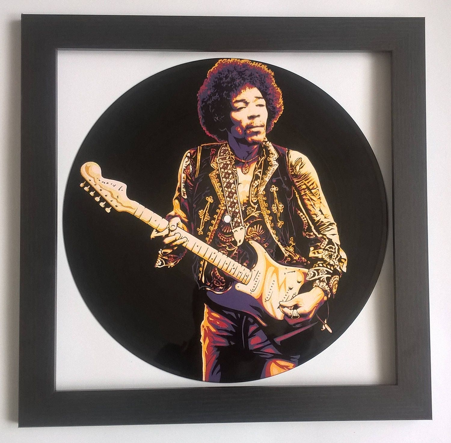 jimi hendrix painted on vinyl record framed and ready to. Black Bedroom Furniture Sets. Home Design Ideas