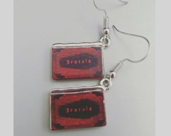 Bram Stoker's Dracula earrings, dracula earrings, vampire earrings, dracula book earrings, red dracula earrings