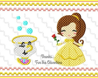 Belle and Chip from Beauty and the Beast Faux Smocking Digital Embroidery Machine Design File 4x4 5x7 6x10