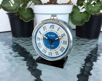 Vintage alarm clock Working alarm clock Mechanical clock Soviet clock Slava alarm clock Desk alarm clock Retro clock Russian alarm clock