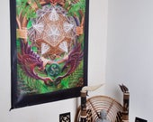 Wall Hanging,Tapestry,Banner,Visionary Art,Fabric,Photograph,Sublimation,Print,Light Wizard,Earth,Spiritual,Healing,Sacred Geometry,Shamanic