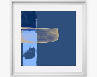 Minimalist Blue Abstract Art Print - modern square print, large wall art for home interior design, giclee prints, abstract paintings
