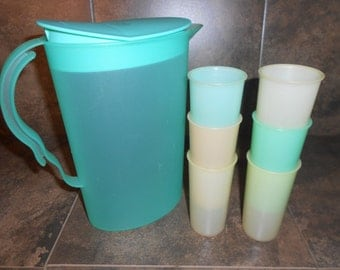 Ou La! La! Set of 7 Vintage Tupperware Pitcher and Drinking Cups