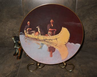Frederic Remington Evening on a Canadian Lake Collectible Limited Edition Plate