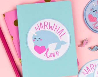 Narwhal Love 8cm Vinyl Sticker | narwhals stickers circular
