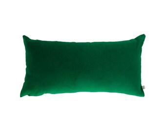 Velvet and Linen Cushion in Emerald Green 60 x 30 cm rectangle