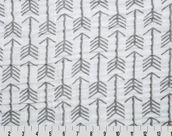 One Yard Embrace Archer Graphite Double Gauze Cotton Fabrics, Shannon Fabrics Embrace Double Gauze, Gray Arrow Fabric