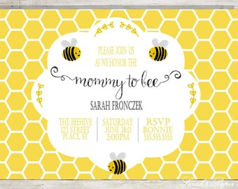 Mommy to Bee - Baby Shower Invitation - Personalized - Digital