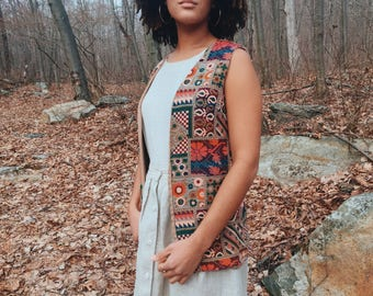 RARE 1970's Saks Fifth Avenue tapestry vest with incredible patterns and muted colors.