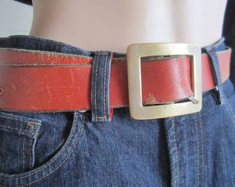 Vintage 70s leather belt leather belt hippie Cognac belt Festival