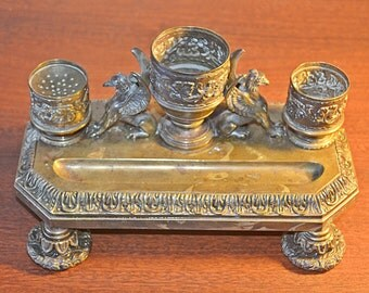 Antique Brass Standish, Inkwell, Brass Griffins