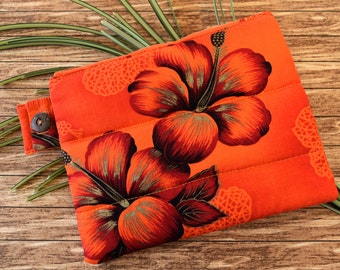 Quilted Zipper Bag in Bright Red Hawaiian Print Fabric with Hibiscus Flowers, Small Lined Zipper Pouch for Toiletries or Purse or Travel