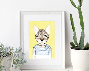 Cat Illustration Art Print, Animal Portrait, Animal Art, Boho, Hipster Art, wall Art, Art Print, Illustration, 8 x 10, Animal Illustration