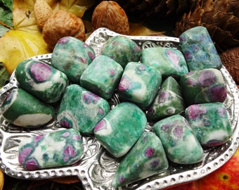 Ruby Fuchsite Tumbled Stone - Large/Medium - Weapon Against the Blues, Tune the Heart and Remove Blockages, Activate the Third Eye.