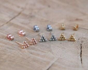Dot Stud Earrings | Six Ball Earring | Stainless Steel Silver Gold Plated Dot Studs | Minimal Triangle Earring | Hexagonal Ball Studs
