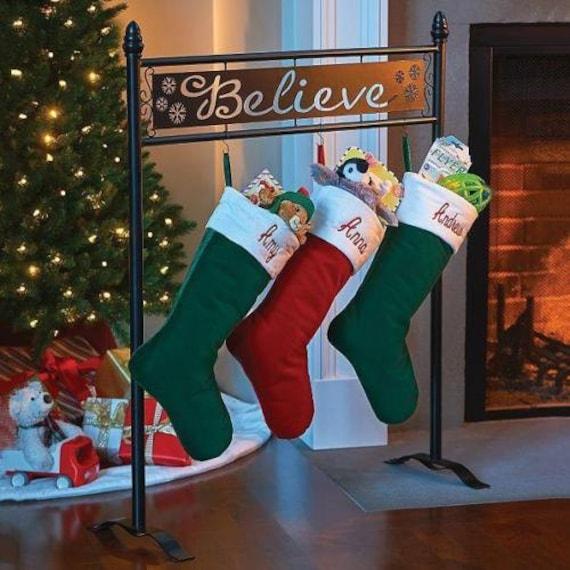 Christmas Stocking Holder Tree Stand: Christmas Stocking Holder Hanger Stand Holiday Black By