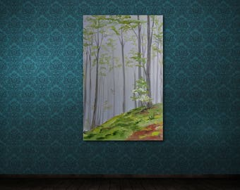 Forest in the Fog painting Landscape painting Abstract painting Large Canvas Wall Art