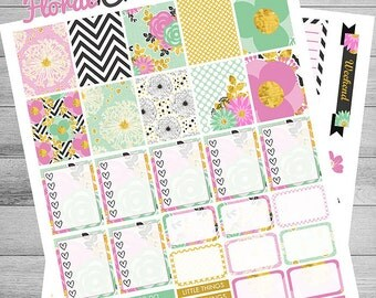 Floral Printable Planner Stickers, Black, Pink, Mint, Gold, Floral, Paris, elegant, use with Erin Condren, chic, Weekly kit, Passion, kit