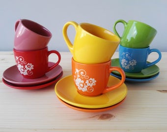 Vintage Cappuccino Cup and Saucer - Set of Six Multi Coloured Coffee Cup and Saucers - 1970s