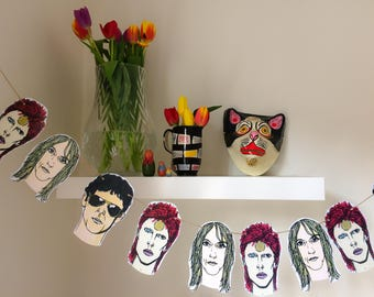 David Bowie, Lou Reed and Iggy Pop paper bunting! Perfect gift for music fans. Wall art. Wall decor. Hand illustrated. Art for the home.