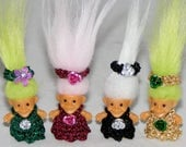 "Your Choice, 7/8"" Troll Doll, Choice from Green Dress, Burgundy Dress, Black Dress or Gold Dress Troll Doll"